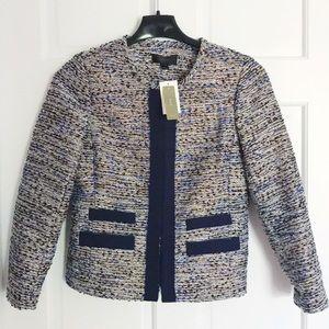 J.Crew Metallic tweed jacket with grosgrain trim